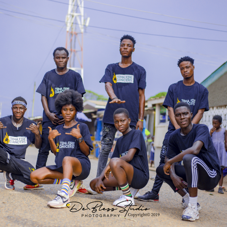 Tema Fire Dancers Adopt Special Choreography For Rapper Eno Barony's Ay3 Ka Song - WATCH VIDEO